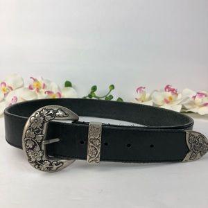 Express Black Leather Flowers Buckle Belt